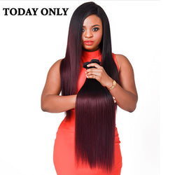 Today Only Burgundy Brazilian Straight Hair Ombre Human Hair Extensions Non-remy Hair Weave Bundles Two Tone Human Hair Bundles