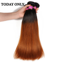 Today Only Ombre Brazilian Straight Human Hair Bundles Non-remy Hair Extensions Tow Tone Hair Weaves 1b 30 Tissage Bresilienne