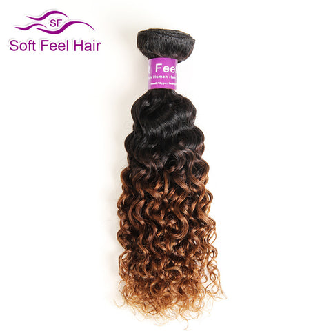 Soft Feel Hair Ombre Brazilian Kinky Curly Hair Weave Bundle 10-26 Inch Non-remy Human Hair Extension Color T1B/30 Free Shipping