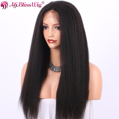 AliBlissWig Glueless Full Lace Human Hair Wigs With Baby Hair Italian Yaki #1B Color Brazilian Non-remy Human Hair Hand Tied