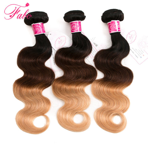 Fabc Hair Ombre Brazilian Body Wave Human Hair Bundles T1B/4/27 3 Tone Blonde Remy Hair Weaves 1 Bundle Free Shipping