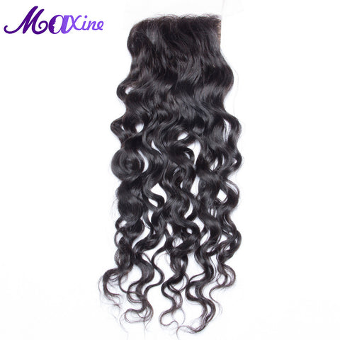 Maxine Hair Products Aliexpress Free Part Water Wave Lace Closure Remy Human Hair Piece Medium Brown Swiss Lace Bleached Knots