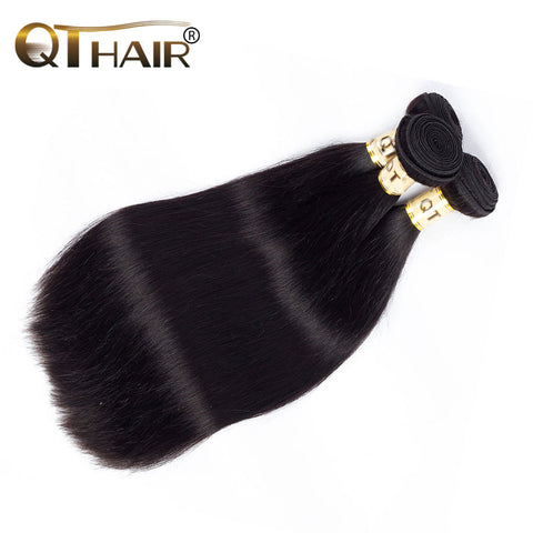 QThair Brazilian Straight Hair Weave Bundles 100% Human Hair Natural Black Color Non-remy One Piece Lot Free Shipping