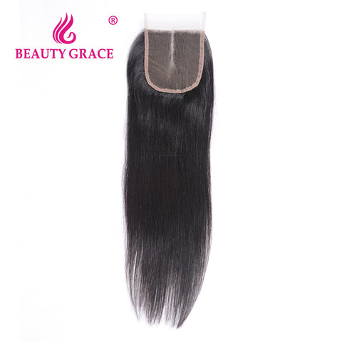 Beauty Grace Brazilian Straight Lace Closure 4x4 Remy 100% Human Hair Closure Piece Middle Part Top Closure Bleached Knots