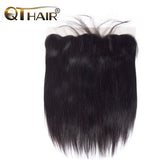 QThair Brazilian Straight Hair Lace Frontal Closure 13x4 Swiss Lace Ear To Ear Remy Human Hair Closure Free Shipping