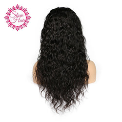 Slove Hair Brazilian Full Lace Human Hair Wigs For Black Women With Baby Hair Natural Remy Human Hair Water Wave Wigs Free Ship