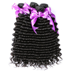 Alishes Hair 100g Brazilian Deep Wave Hair Weave Bundles Real 100% Human Hair Products Non-Remy Hair Natural Color Can Be Dyed