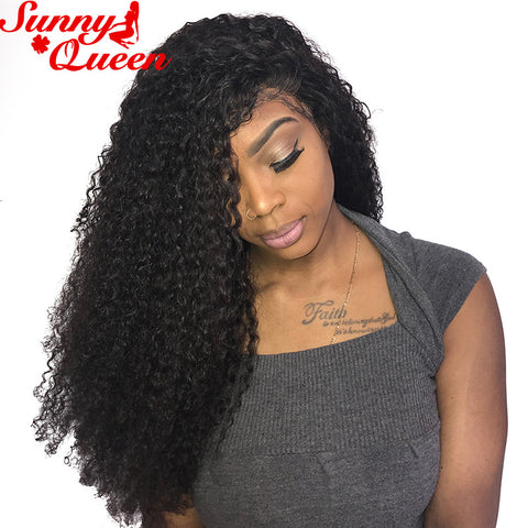 250% Density Curly Lace Front Human Hair Wigs For Black Women Pre Plucked Natural Hairline With Baby Hair Sunny Queen Remy Hair