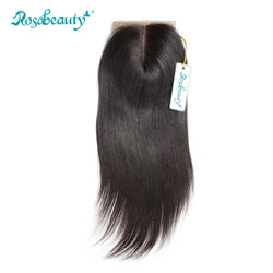 Rosabeauty Silk Base Closure Brazilian Straight Human Remy Hair 4X3.5 Siwss Lace with Bleached Knots Middle Part Style