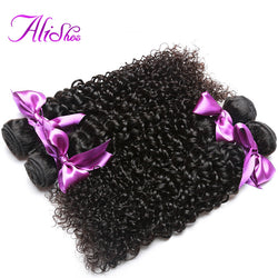 Alishes Hair Malaysian Curly Hair Bundles Real 100% Human Hair Weave 100g Non-Remy Hair Natural Color Free Shipping