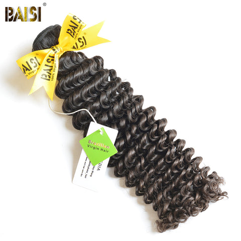BAISI Brazilian Deep Wave Virgin Hair Machine Double Weft 100% Human Hair Weaving Nature Color 10-28inch Free Shipping