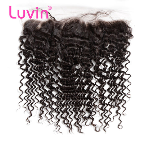 Luvin Malaysian Curly Hair Lace Frontal Closure 13x4 Bleached Knots With Baby Hair 100% Remy Human Hair Closure Shipping Free