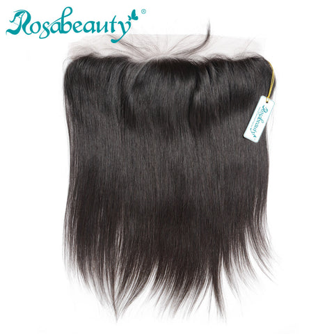 Rosabeauty Brazilian Straight Remy Hair 13X4 Lace Frontal Closure Knots Bleached with Baby hair 100% Human Hair Free Shipping