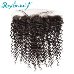 Rosabeauty Deep Wave Lace Frontal Closure Brazilian Remy Human Hair with Baby Hair, 130% Density with Pre plucked Hairline