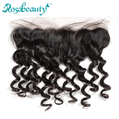 Rosabeauty Brazilian Loose Wave 13*4 Lace Frontal Closure Bleached Knot with Natural Hairline 100% Human Remy Hair Free Shipping
