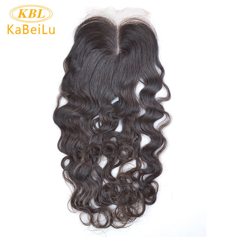Kabeilu Brazilian Lace Closure Deep Wave Curly 4x4 100% Virgin Human Hair Closure Middle Part Bleached Knots With Baby Hair