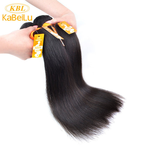 "KBL Raw Indian Virgin Hair Straight 100% Human Hair Weave bundles Products Machine Double Weft Hair Extension 10""-40"" 1B"
