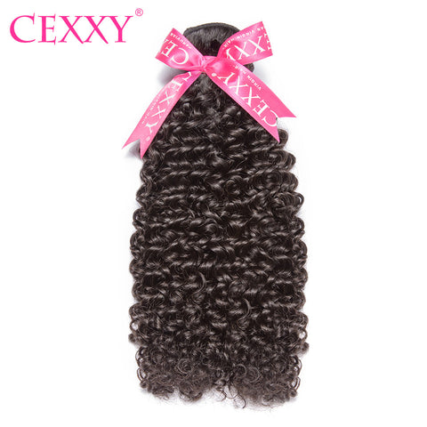 CEXXY Peruvian Virgin Hair Kinky Curly Natural Color 100% Human Hair Weave Bundles Free Shipping