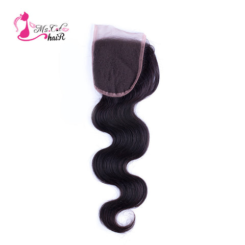"Ms Cat Hair Brazilian Body Wave Lace Closure 4""X4"" 100% Human Hair Natural Black Free Part Remy Hair 8""-20"" Thick Hair Closure"