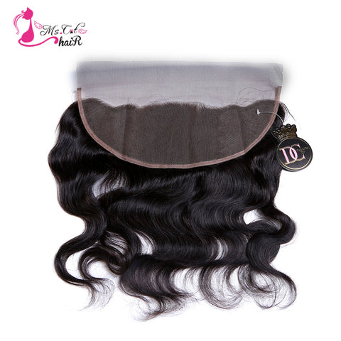 Ms Cat Hair Closure Ear To Ear 13*4 Body Wave Brazilian Hair Nature Color 100% Human Hair Remy Hair Lace Frontal