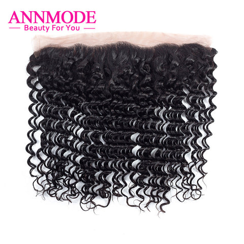 Annmode Brazilian Deep Wave Lace Frontal Closure 13x4 Non-Remy Human Hair Closure Free Shipping