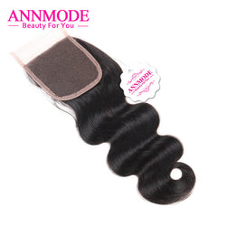Annmode Malaysian Body Wave Lace Closure Free Part 4*4 Free Shipping Non-remy Human Hair Closure 8-18inch
