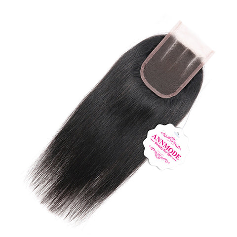 Annmode Products Peruvian Lace Closure Straight 3 Part Human Hair Closure Density 120% Non-remy A Piece Free Shipping