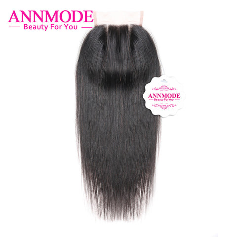 Annmode Hair Products Brazilian Straight Closure 4x4 Free ShippingThree Part Human Hair Lace Closure 120% Density Non-remy Hair