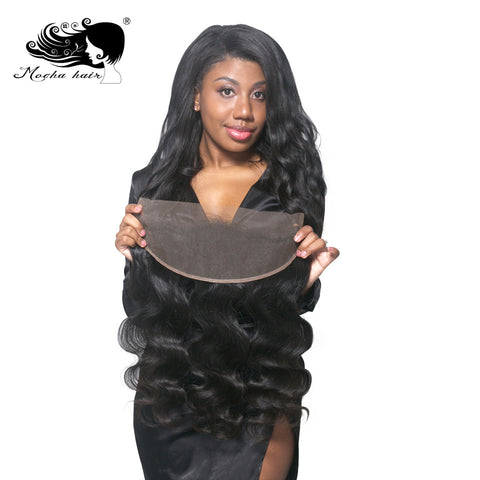 Mocha Hair Lace Frontal Closure 13X4  Brazilian Remy Hair Body Wave Nature Color  100% Human Hair