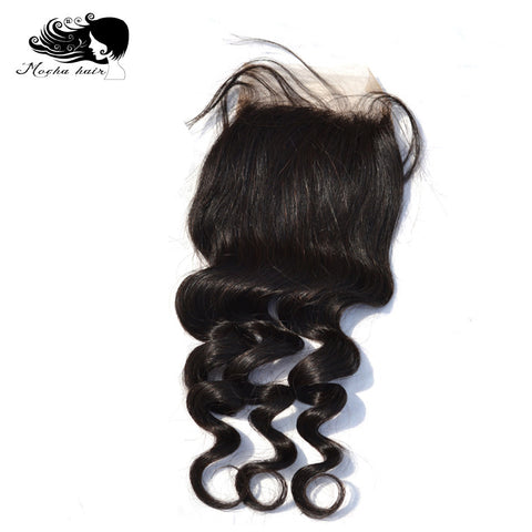 "Mocha Hair Brazilian Remy Hair Loose Wave  Lace Closure 4""X 4"" Free Part  100%  Human Hair"