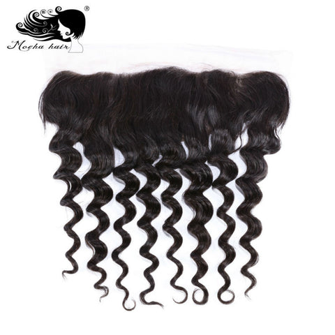 Mocha Hair Brazilian Remy Hair Lace Frontal Closure Loose Wave  13*4 Bleached Knot 100% Human Hair Natural color