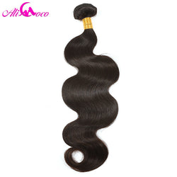Brazilian Body Wave Hair Bundles 100% Human Hair Weave 1 Piece Natural Color Ali Coco Hair Non Remy Hair Free Shipping