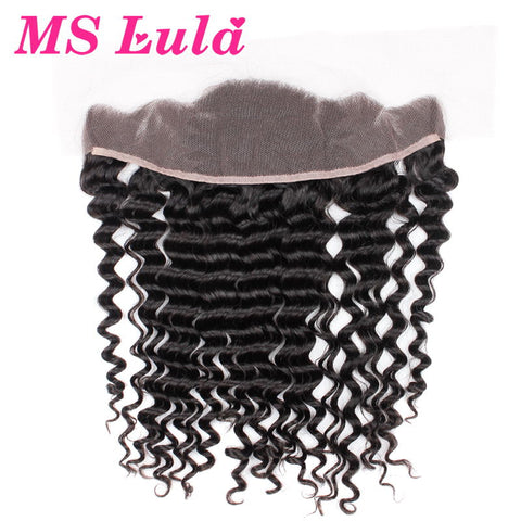 MS Lula Hair Deep Wave Brazilian Hair Ear to Ear Pre Plucked Lace Frontal Closure Natural Hairline Remy Human Hair Free Shipping