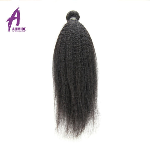 Alimice Brazilian Kinky Straight Non-Remy Hair ALIMICE Hair Human Hair Weave Bundles Natural Color 1Bundle Coarse Yaki Hair Weaving