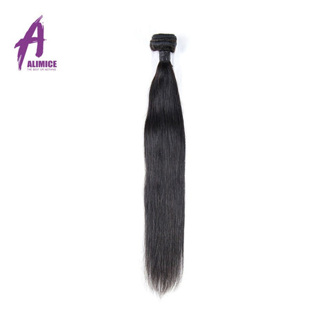 Alimice Straight Peruvian Hair Weave Bundles Non-Remy Human Hair Bundles 10-26 Double Weft Hair Weaving Natural Color 1Bundle
