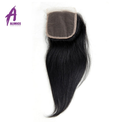 Alimice Hair Brazilian Non-Remy Straight Hair Closure 4X4 Lace Closure 120% Density Natural Color 100% Human Hair Free Part