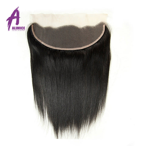 Alimice Brazilian Straight Lace Frontal Closure 13*4 Ear To Ear Frontal Free Part Closure Natural Color 100% Non-Remy Human Hair