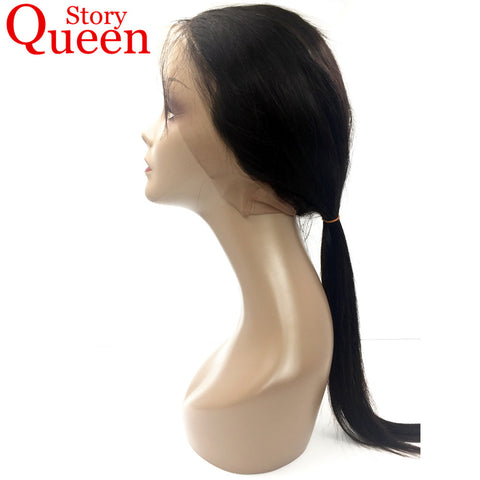 Queen Story 360 Lace Frontal Closure With Baby Hair Brazilian Straight Hair Remy Human Hair Natural Black Color