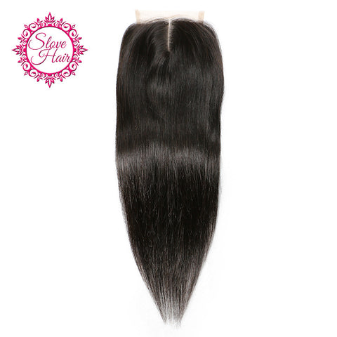 Slove Hair Brazilian Remy Straight Human Hair Lace Closure Middle Part Natural Color Bleached Knots Pre Plucked With Baby Hair