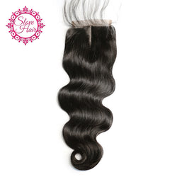 Slove Hair Lace Closure 4x4 Middle Part 100% Brazilian Remy Human Hair Body Wave Closure Bleached Knots with Baby Hair