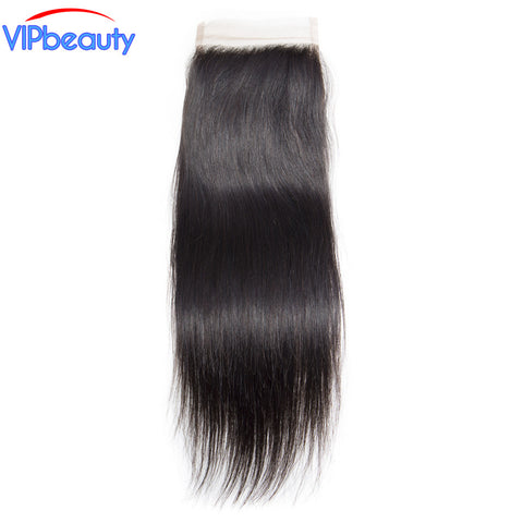 Vipbeauty Peruvian straight remy hair 4x4 lace closure 120% density human hair extension 1b 8-20 inch