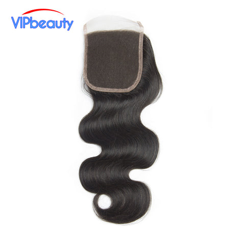 VIPbeauty Peruvian Body Wave Lace Closure 100% Remy Human Hair 4x4 Free Part Closure Bleached Knots With Baby Hair