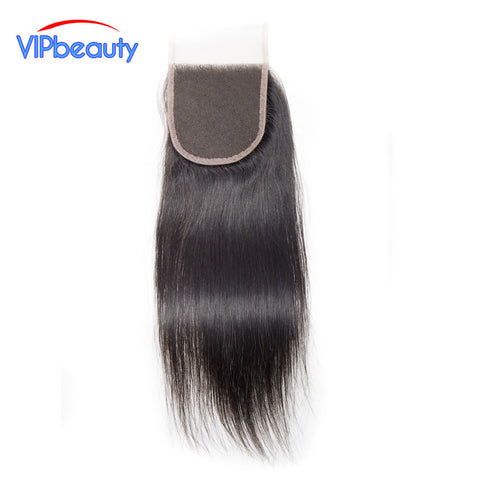 VIPbeauty Brazilian Lace Closure Straight Remy Hair Natural Color 100% Human Hair 130% density 4x4 Free Part Swiss Lace