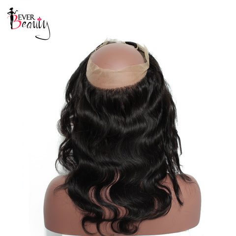 Ever Beauty Pre Plucked 360 Lace Frontal With Baby Hair Body Wave 100% Brazilian Remy Human Hair Natural Black Color 14-22inch