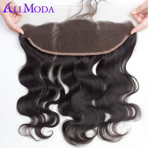 Ali Moda Hair 13x4 Pre Plucked Full Lace Frontal Bleached Knots With Baby Hair Brazilian Body Wave Frontal Remy Human Hair