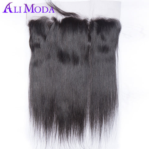 ALI MODA Pre plucked lace frontal closure Peruvian straight hair natural hairline remy hair ear to ear frontal with baby hair