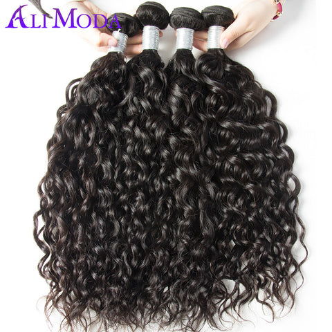 Ali Moda Brazilian Water Wave Hair Weave Bundles 100% Human Hair extensions 1pc/lot Natural Black Remy Hair Free Shipping