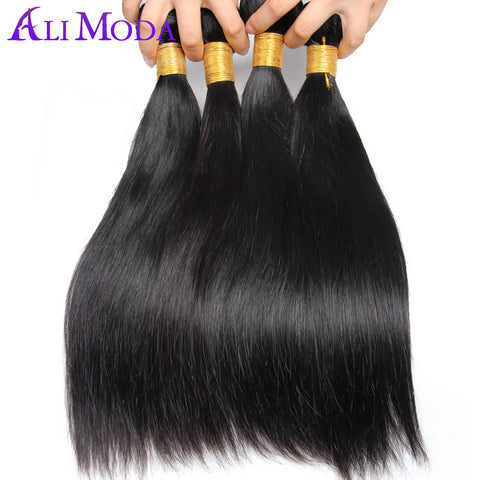 Ali Moda Malaysian Straight Hair 100% Human Hair 1pc/lot Natural Color Non-Remy Hair Weave Bundles Can Be Dyed Free Shipping