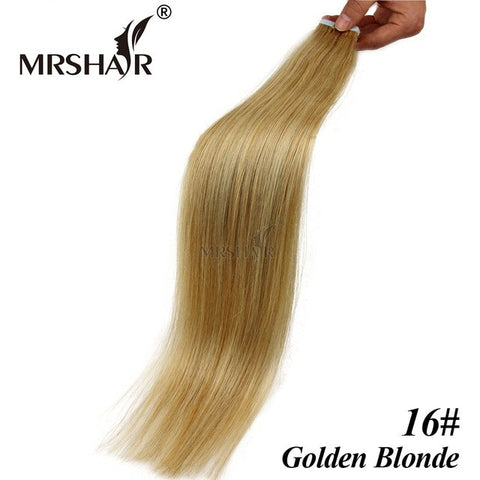 "MRSHAIR 16# Seamless Tape Hair Extensions 20pcs Brazilian Straight Hair On Adhesive Tape In Gold Blonde Hair 16"" 18"" 20"" 22"" 24"""
