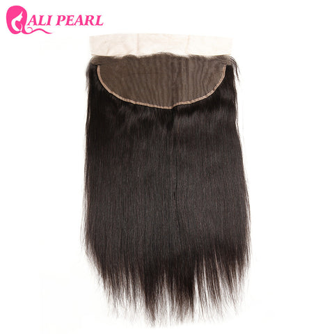 AliPearl Hair Brazilian Remy Hair Straight 13X6 Lace Frontal with Baby Hair Free Part Human Hair Color 1b Free Shipping